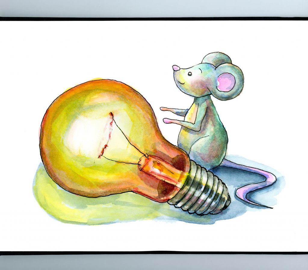 Light Bulb And Mouse Watercolor Illustration_IG