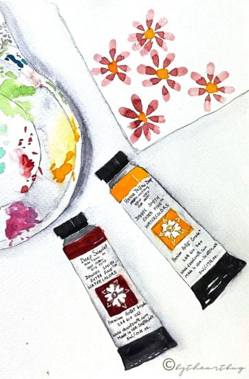 Watercolor Painting of Paint Tubes Daniel Smith
