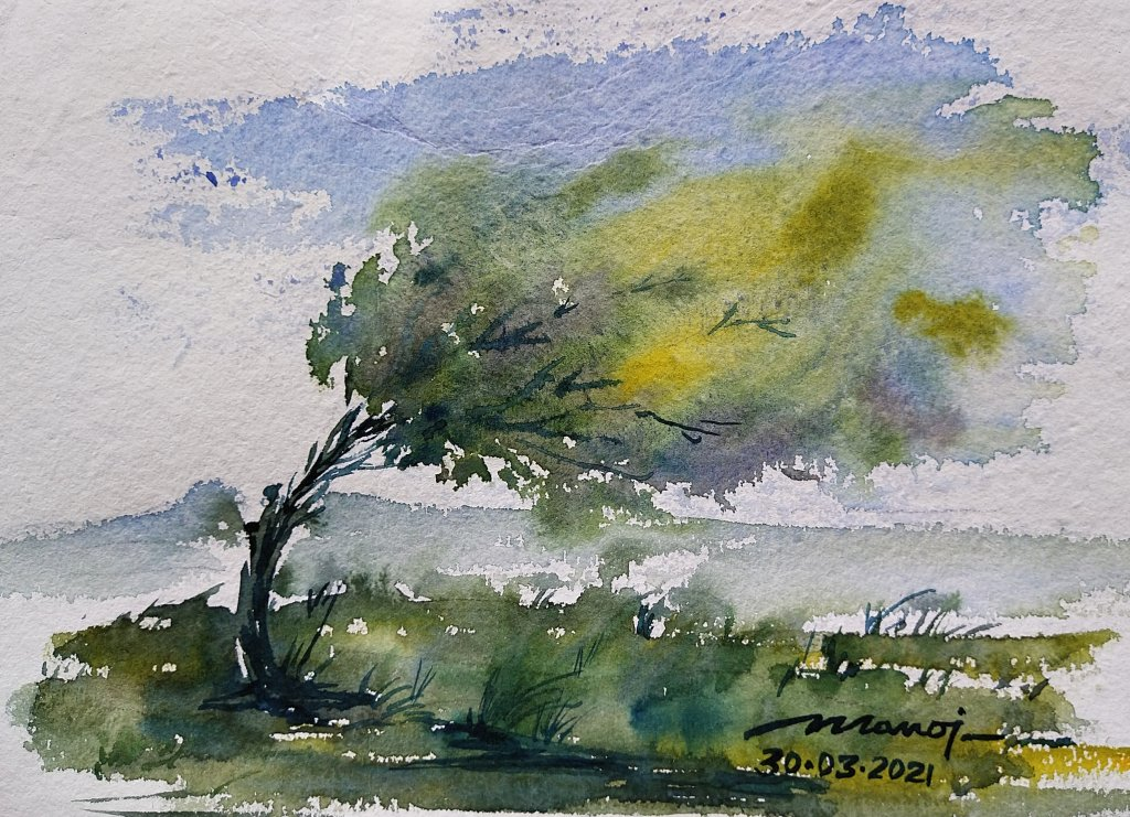 Dt: 30.03.2021 Sub: WIND Watercolor painting on handmade paper inbound1260954814453892025