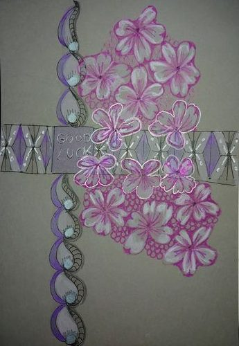 cherryblossom and patterns in watercolours on Clairefontaine paint on gray. cherryblossom is pattern