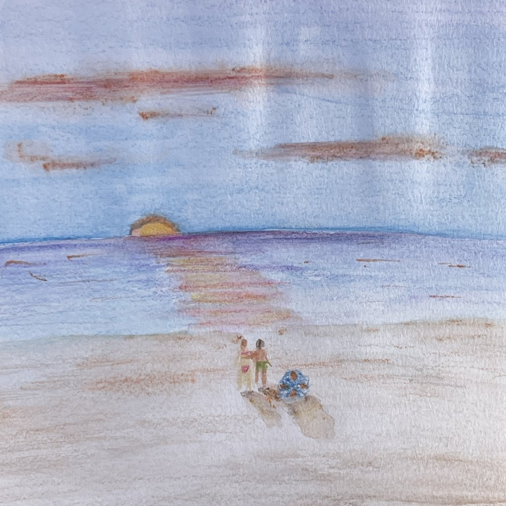 Beach for word of the day. Glad to be back in the sketch book- been too busy painting the new house!