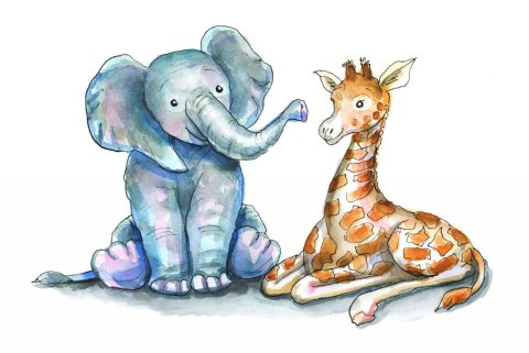 Baby Elephant and Baby Giraffe Watercolor Illustration