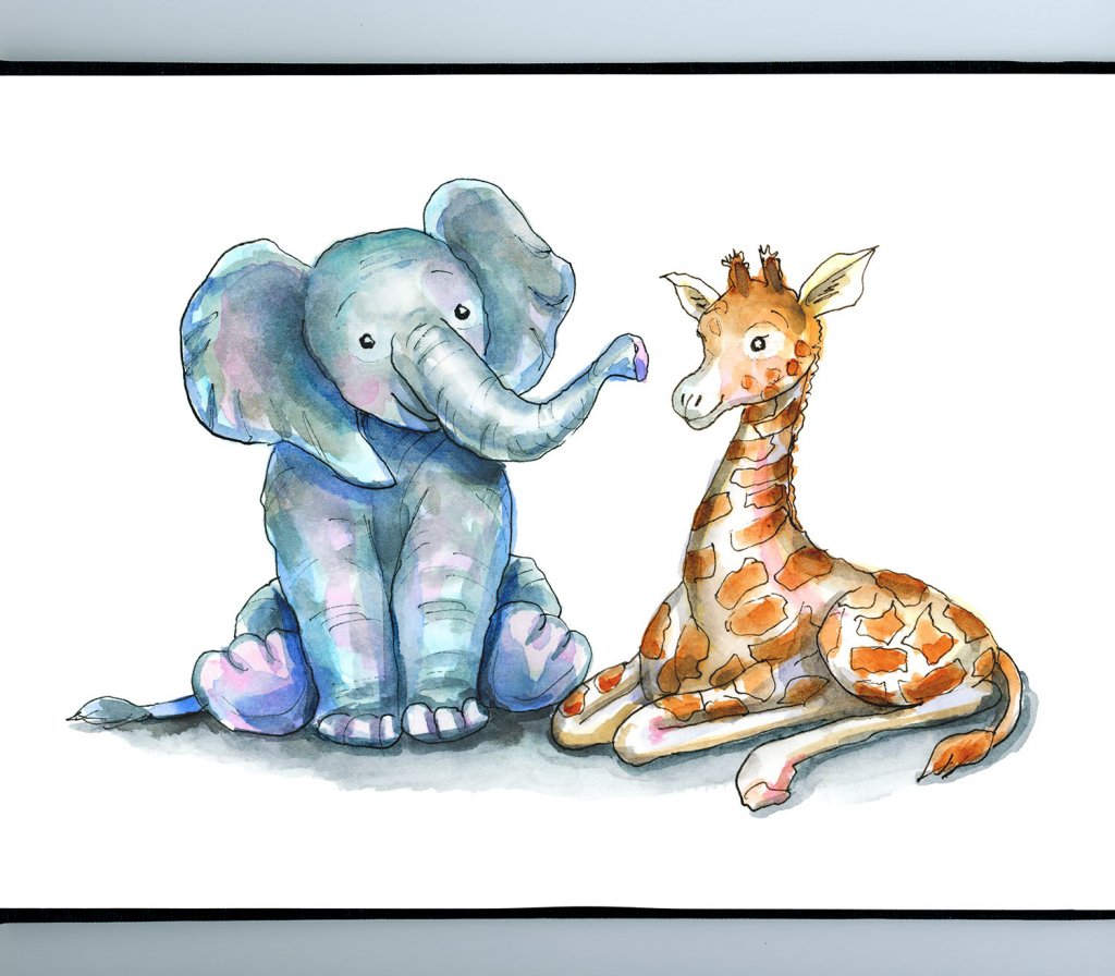 Baby Elephant and Baby Giraffe Watercolor Illustration Sketchbook Detail