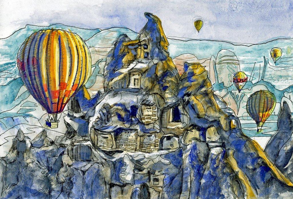 CAPPADOCIA, TURKEY-Zebra Zensations tech pen,Daniel Smith Watercolor on Hahnemühle Agave Watercolor papers