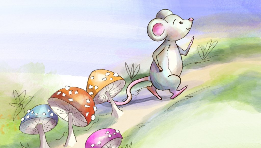 Draw Upon A Time One Little Mouse Illustration With Mushrooms