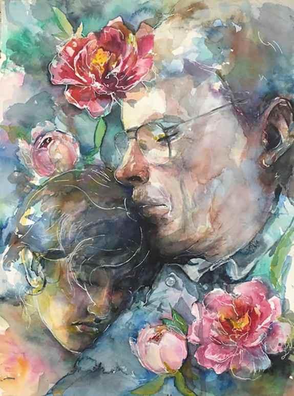 Grandparent and child watercolor portrait by Lauren Arno