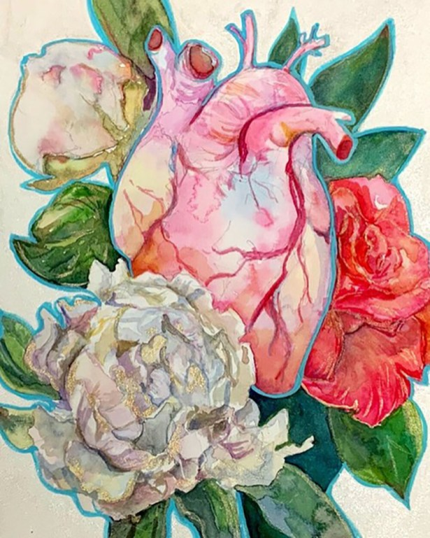 Human Heart And Flowers Watercolor Painting by Lauren Arno