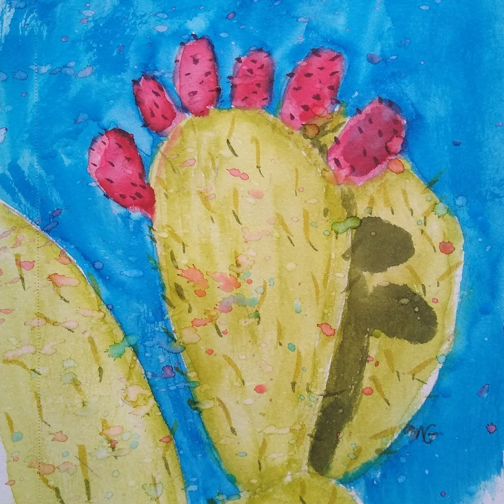 Tried something different with style for this prickly pear cactus painting. Also tried to do a splat