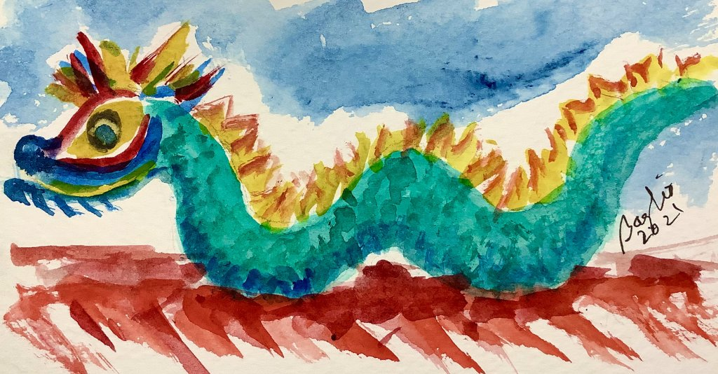 #doodlewashapril2021 day 18 dragon; ornamation along the roof line of a Chinese temple IMG_3072