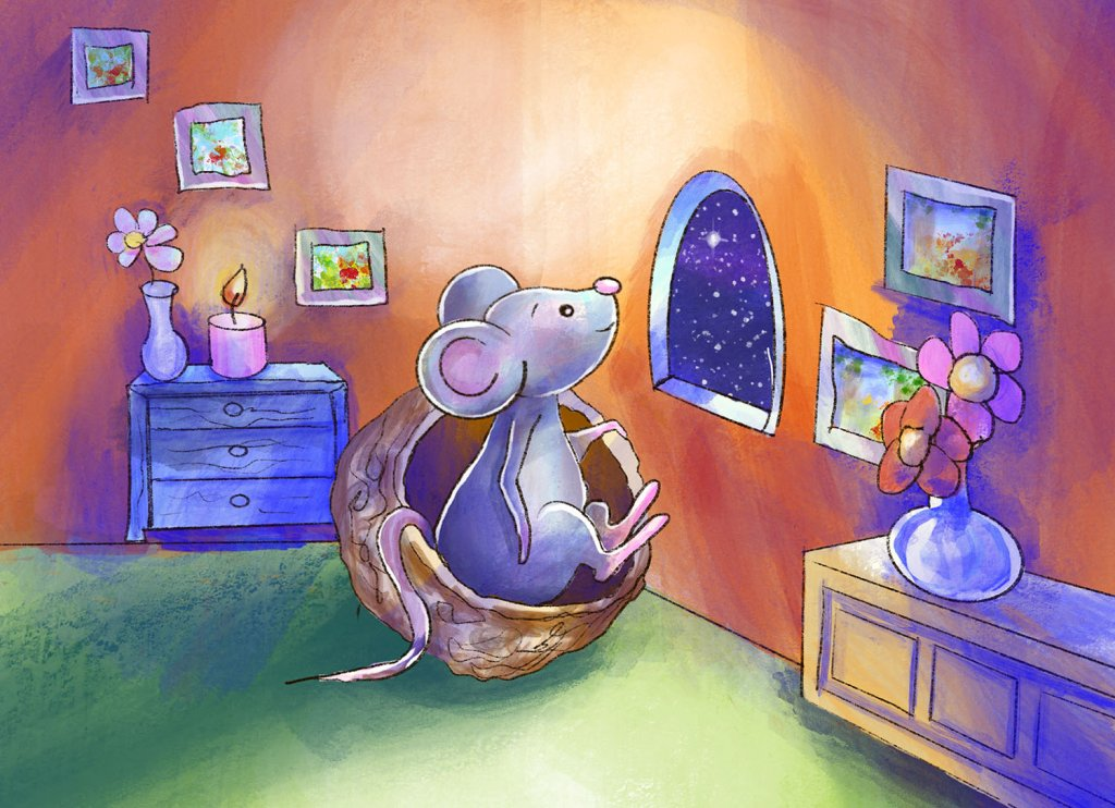 One Little Mouse Childrens Illustration House Night Draw Upon A Time Book Illustration Sample