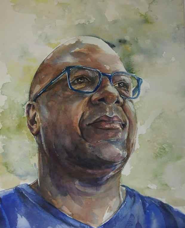 Portrait of a black man watercolor painting
