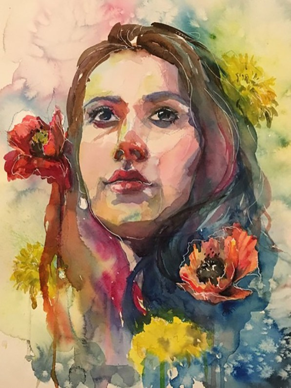 Portrait of a woman and Flowers