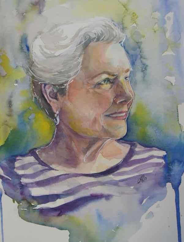Watercolor Portrait of Older Woman by Lauren Arno
