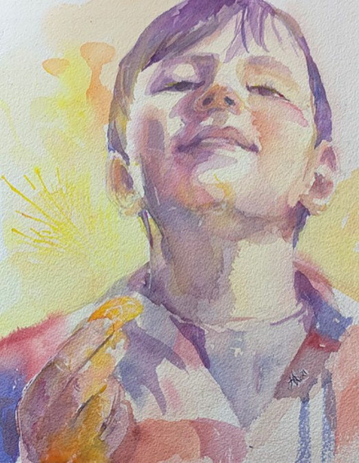 Young boy portrait watercolor painting