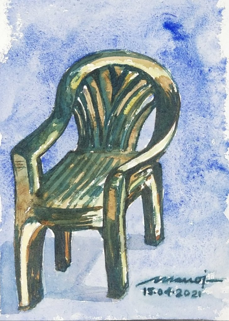 Dt: 15.04.2021 Sub: ARMCHAIR Watercolor painting on handmade paper inbound156358593427806159