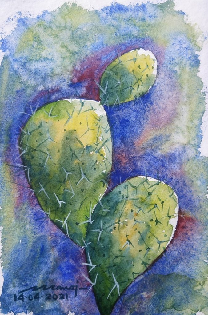 Dt: 14.04.2021 Sub: PRICKLY Watercolor painting on handmade paper inbound5649485153667790035