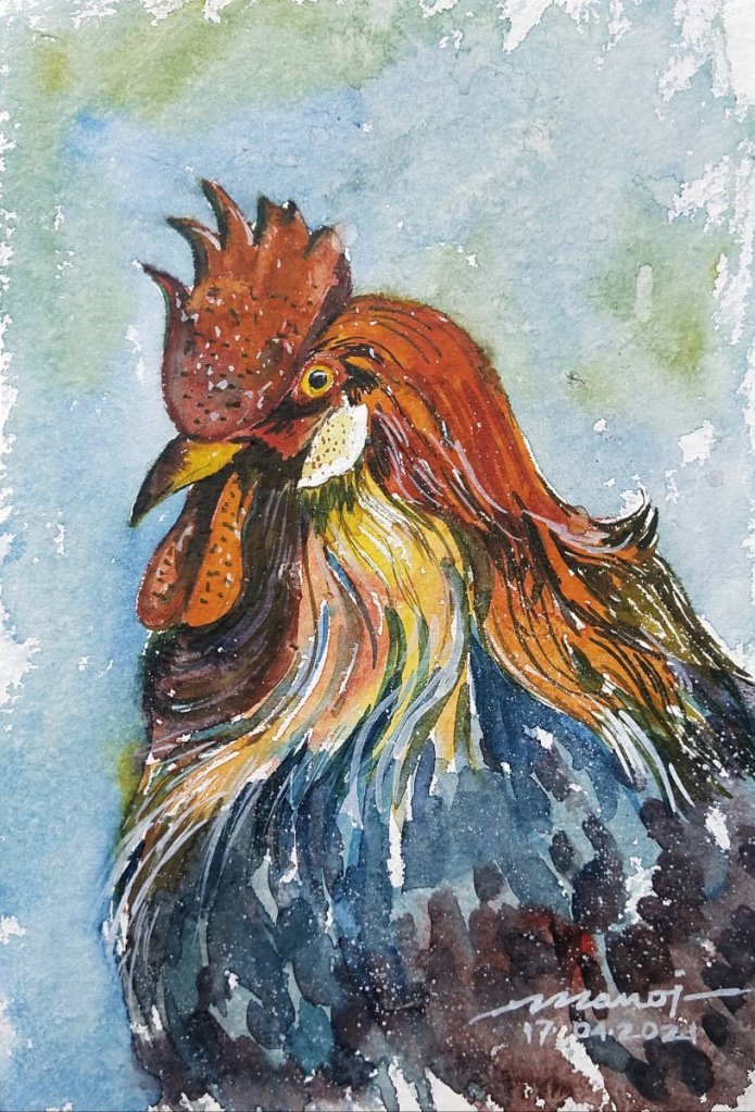 Dt: 17.04.2021 Sub: ROOSTER Watercolor painting on handmade paper inbound6481532997861847323