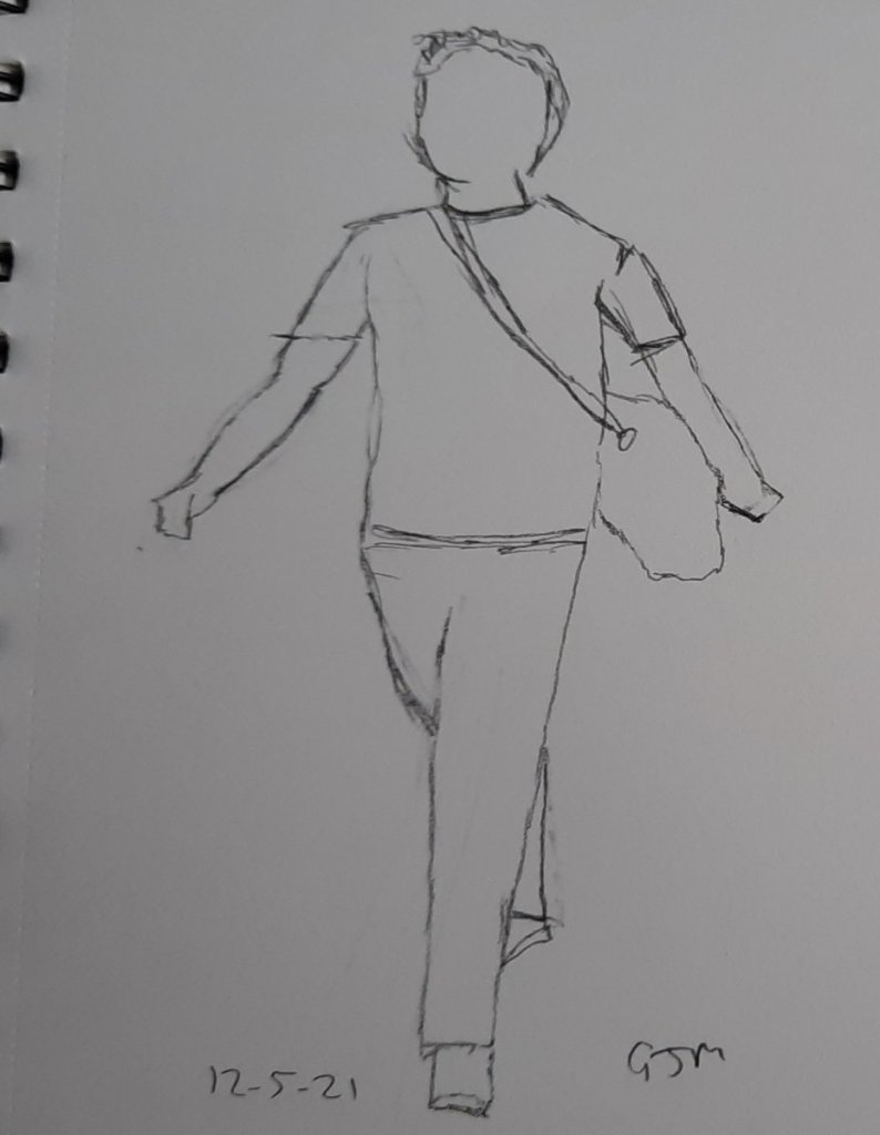 A very quick sketch from a ggogle search. #doodlewashmay2021 Day 13 Walking. 20210512_191002