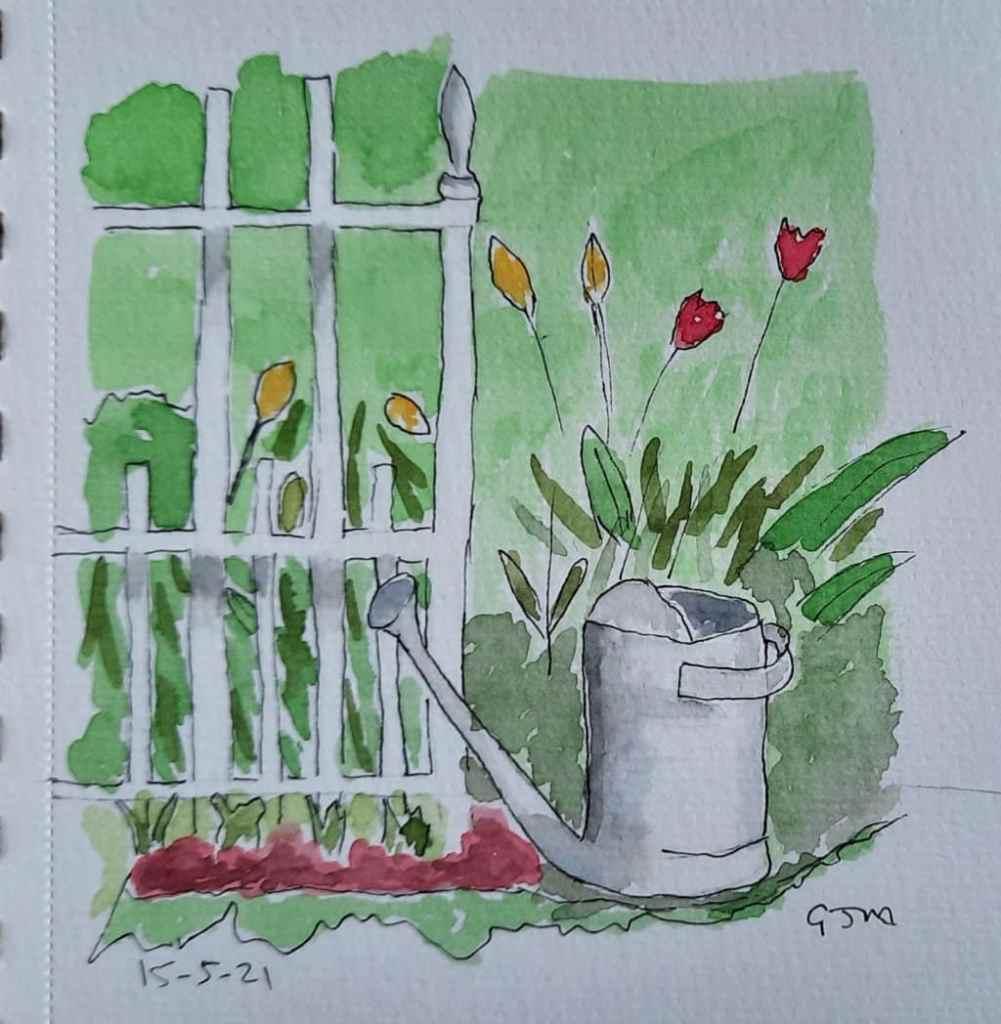 #doodlewashmay2021 Day 16 Gardening #worldwatercolorgroup 20210515_190310