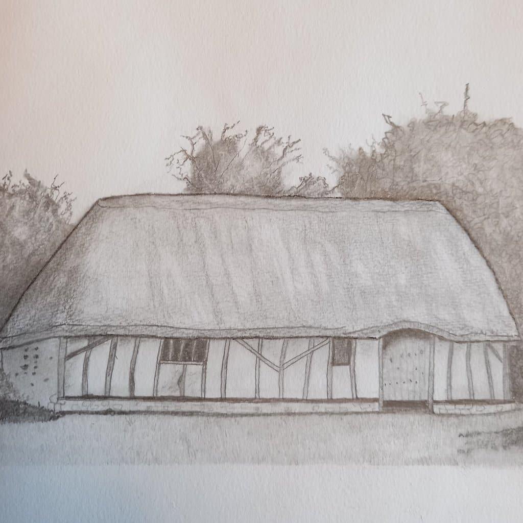 Graphite pencil drawing of a cottage 461D0F2D-1C5E-418E-8050-D3C87F7C7464