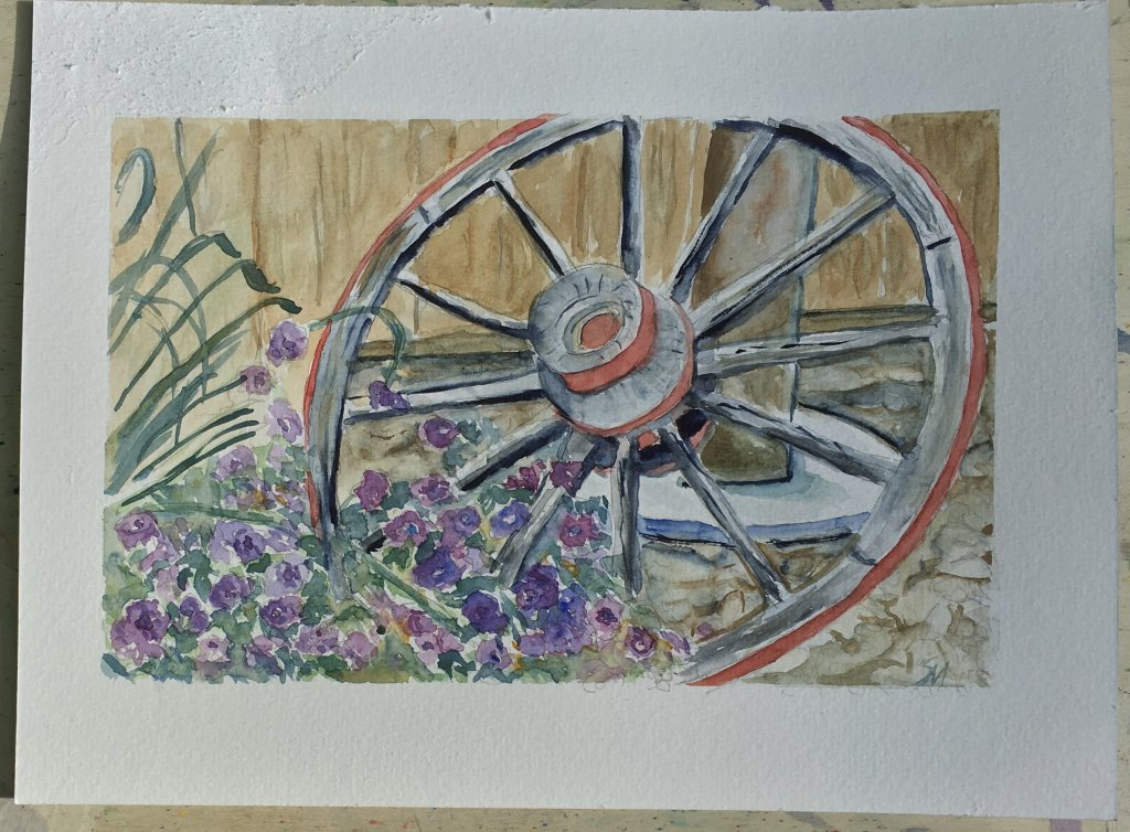 "Day 6 Prompt ""Wheel"" 9×12"" watercolour ref photo from Pinterest #doodlewashmay2021 #world"