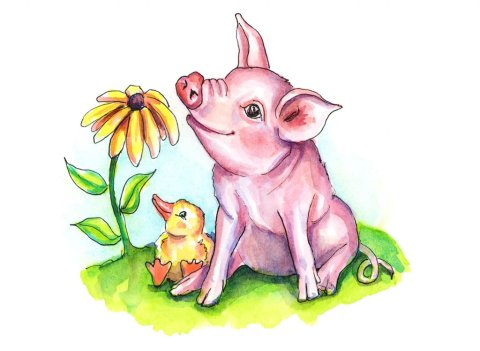 Baby Pig And Duck Duckling Farm Flower Watercolor Illustration
