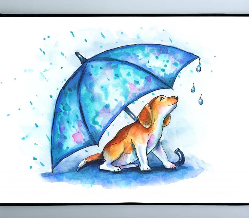 Dog Under Umbrella Rain Beagle Puppy Watercolor Illustration Sketchbook Detail