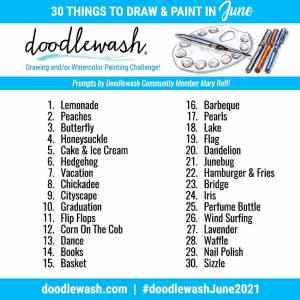 Doodlewash June 2021 Art Drawing Watercolor Challenge Prompts