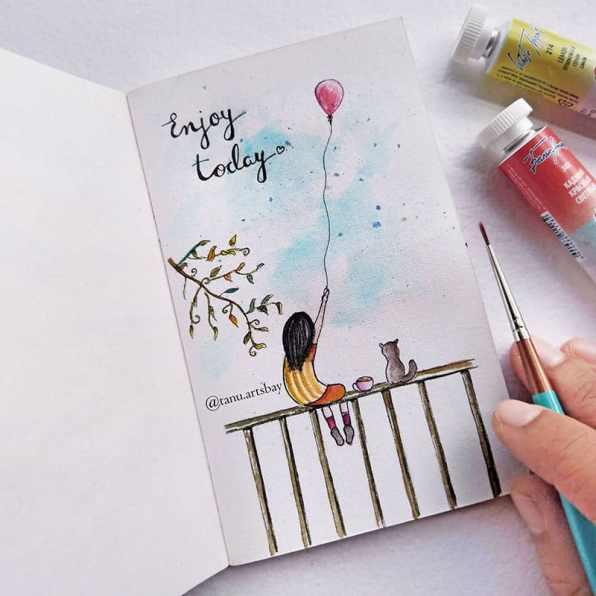 Enjoy Today Watercolor Painting by Tanu Gupta