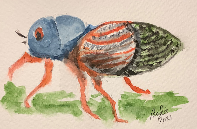 #doodlewashmay2021 day 12 crickets. Instead of painting a cricket I substituted a cicada . Our area