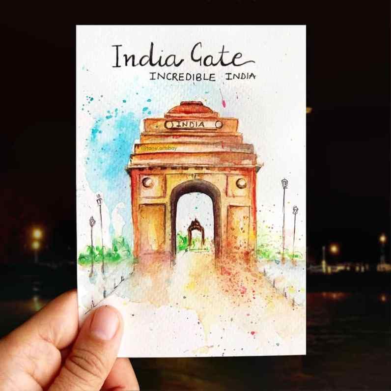 India Gat Watercolor Painting