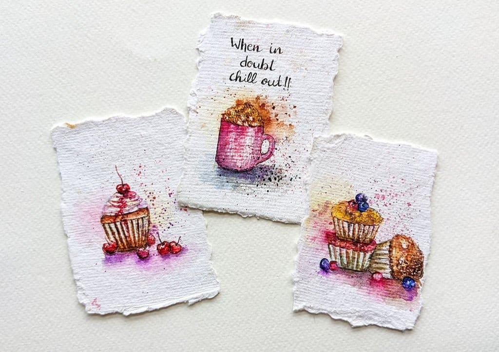 Miniature Desserts Watercolor Paintings by Tanu Gupta