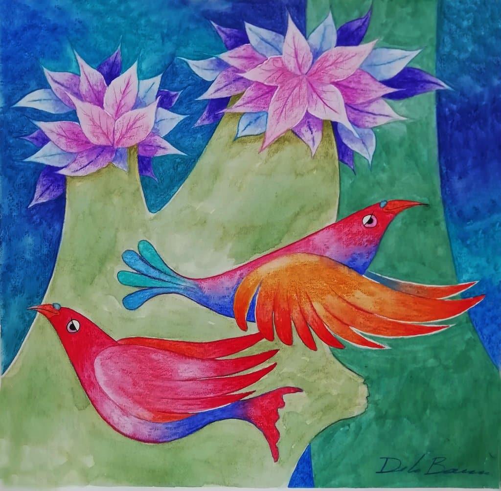 "Obra sobre papel de 300 gramos, ""Birds red"". Naturaleza IVa"