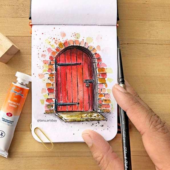 Old Red Door Watercolor Painting