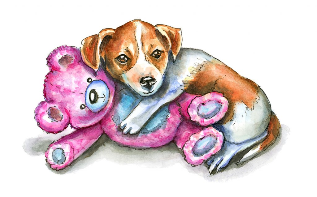 Puppy With Teddy Bear Jack Russell Watercolor Illustration