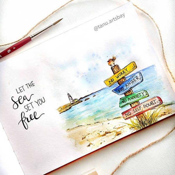 Signs on beach by Ocean Watercolor Painting