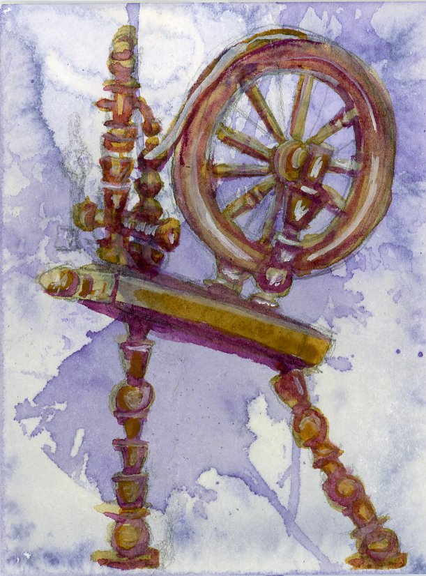 #DoodlewashMay2021 prompt: Wheel.  Did you know that the spindle of a spinning wheel is generally
