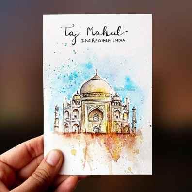Taj Mahal Watercolor Painting by Tanu Gupta