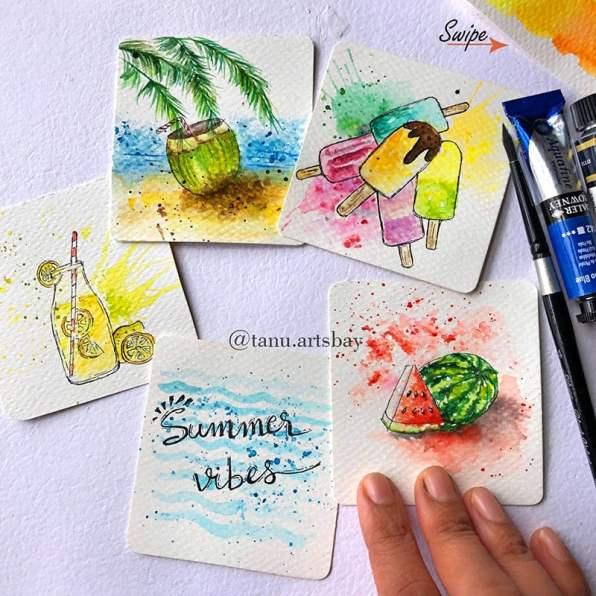 Tropical Summer watercolor mini paintings by Tanu Gupta