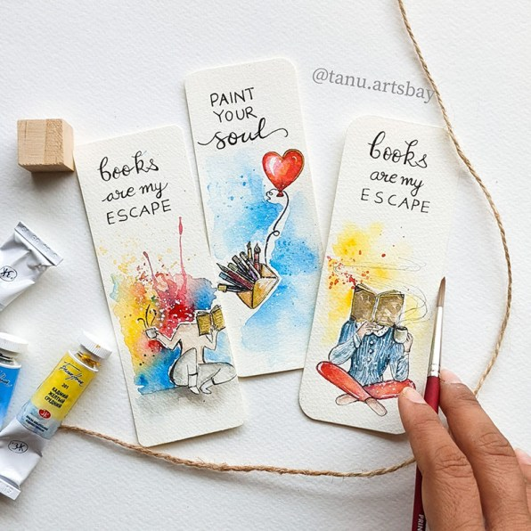 Watercolor Bookmarks by Tanu Gupta