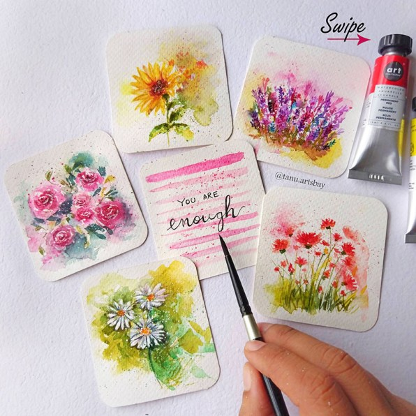 Watercolor Mini Paintings Florals Flowers