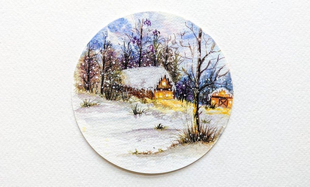 Winter Scene Circular Circle Watercolor Painting