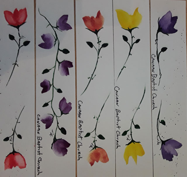 painting bookmarks for Our Church and local Booknooks is a favorite pastime for Me . And they are we