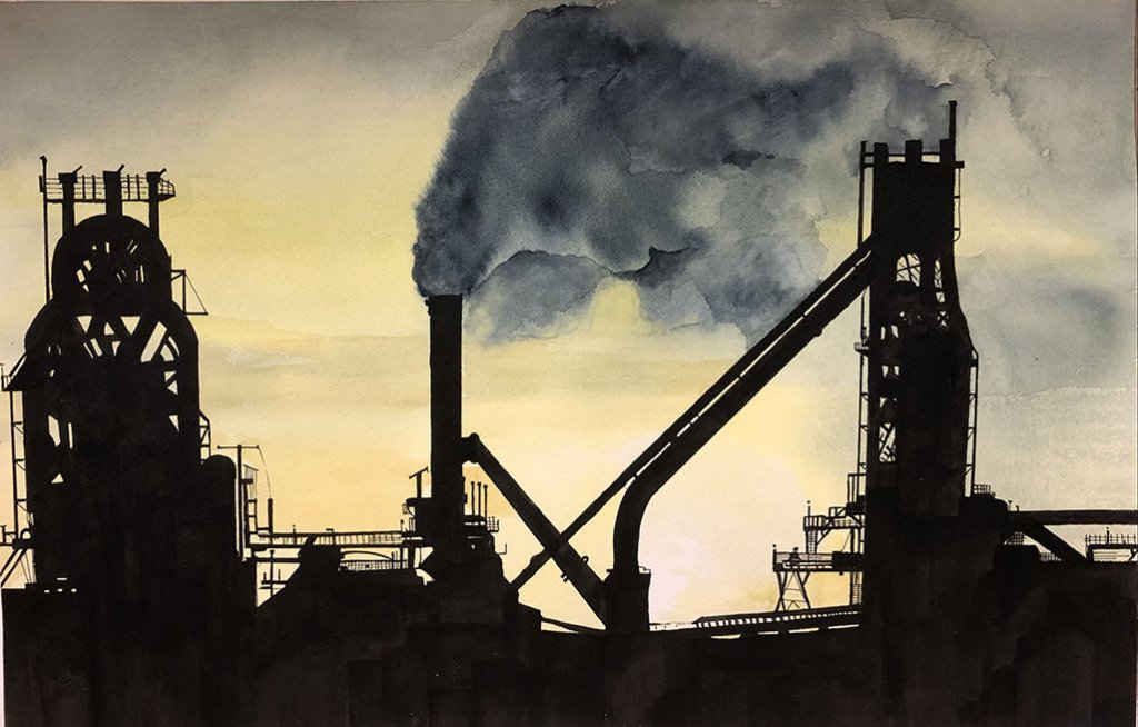factory sunset watercolor painting by paul blease