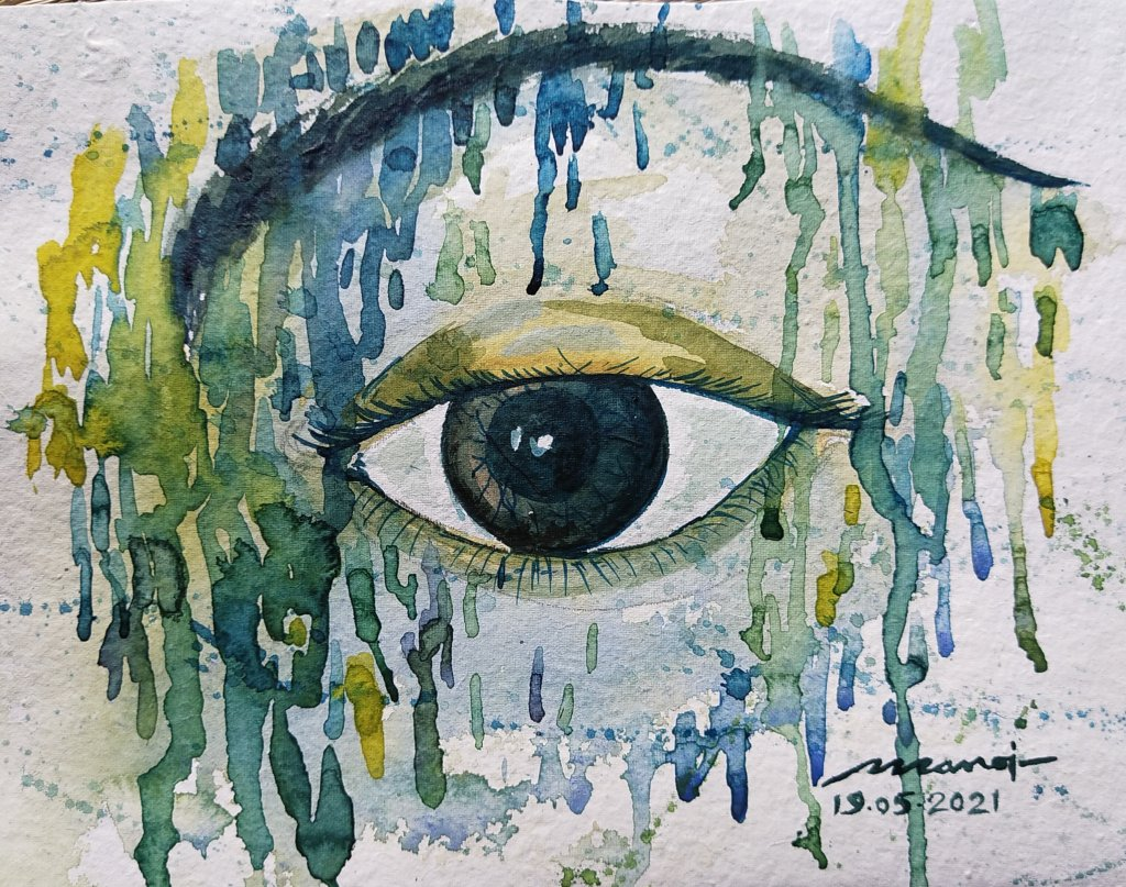 Dt: 19.05.2021 Sub: EYE Watercolor painting on handmade paper inbound8223788626514151366