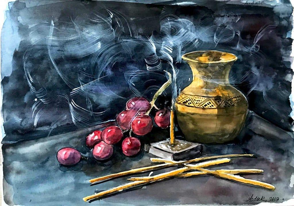 Still life watercolor by Ardak Kassenova