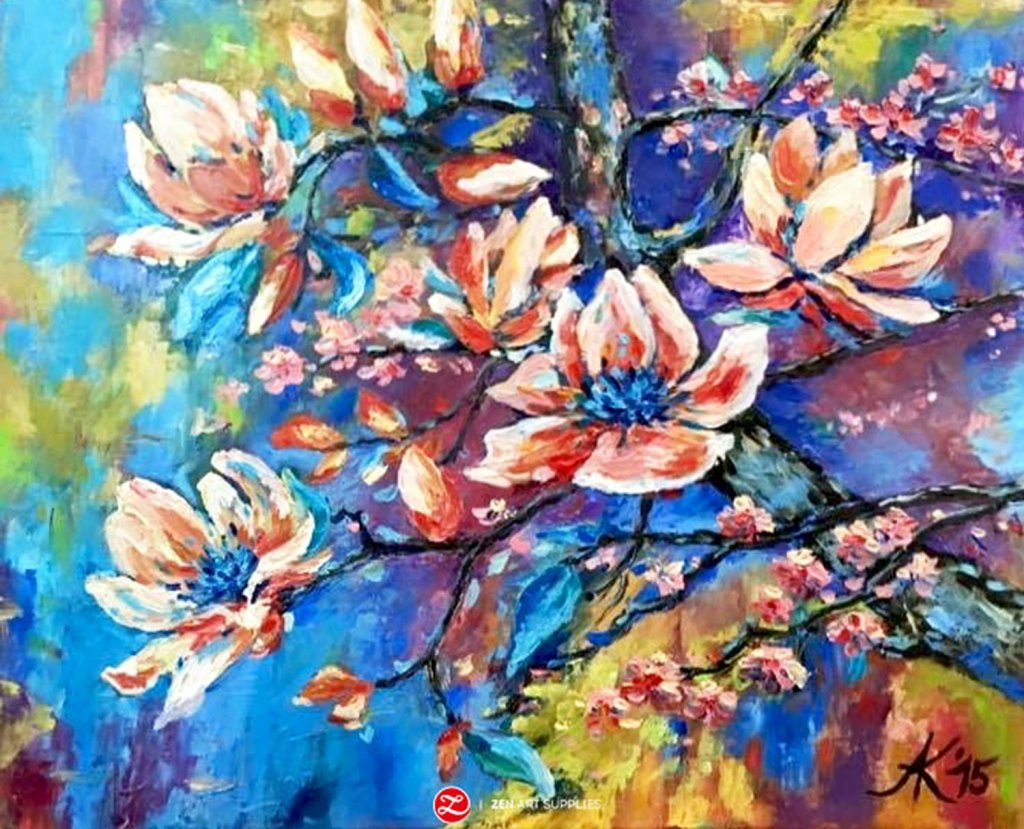 Colorful floral oil painting by Ardak Kassenova