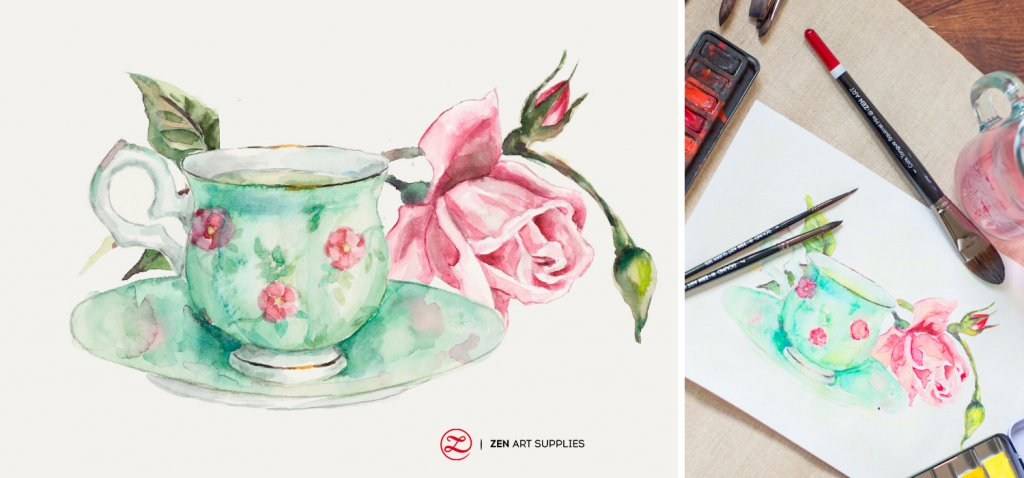 Rose Teacup and Turner Collection Brushes