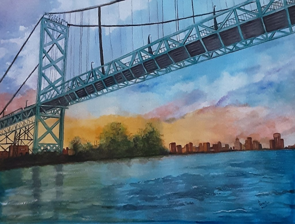 Finally finished this one, with a messed up watercolor board. It is of the Ambassador Bridge connect