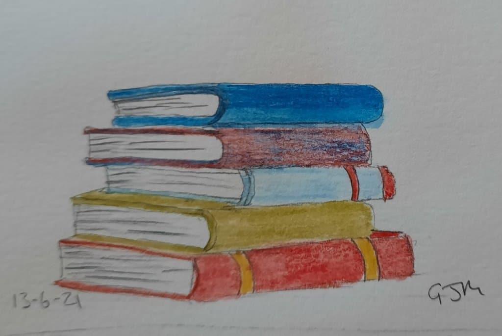 #doodlewashjune2021 Day 14 Books. #worldwatercolorgroup 20210613_195624